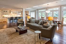 open floor plan flooring living room mediterranean with coffered