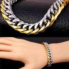 men gold tone bracelet images 2018 men 39 s fancy two tone bracelet stainless steel men jewelry 18k jpg