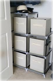 temporary waffle organizing the closet with fabric storage bins