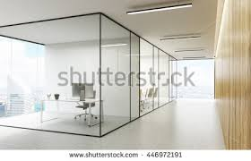 Office Interior Architecture Side View Office Interior Blank Whiteboard Stock Illustration