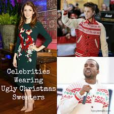 celebrities wearing ugly christmas sweaters fancy temple blog