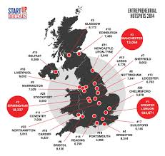 Map Of England With Cities by The Start Up Heat Map Which Uk Cities Start The Most Businesses