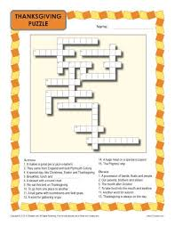 thanksgiving worksheet crossword puzzle