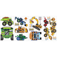 construction vehicles peel and stick wall decals walmart com