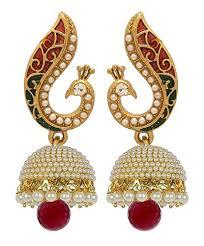 fancy jhumka earrings buy youbella jewellery gold plated pearl fancy party wear jhumka