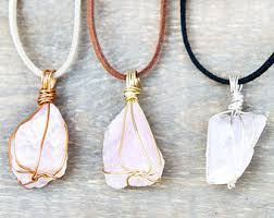 crystal quartz stone necklace images Raw quartz necklace etsy jpg