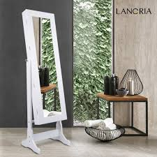 Free Standing Full Length Mirror Jewelry Armoire Amazon Com Langria Lockable Jewelry Cabinet Free Standing Jewelry