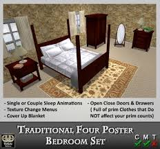 Four Poster Bedroom Sets Second Life Marketplace Dark Wood Four Poster Bed Traditional