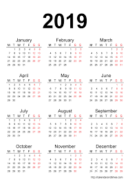 printable calendar year on one page calendar 2019 printable one page calendar and times