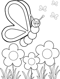 of flowers and butterflies coloring page free download