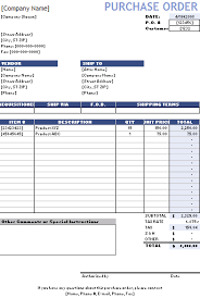 Free Purchase Order Template Excel Purchase Order Template