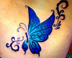about blue butterfly on tribal butterfly