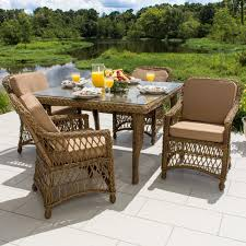 Rattan Patio Dining Set Everglades 5 Honey Resin Wicker Patio Dining Set By Lakeview
