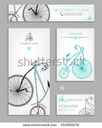 Bicycle Business Cards Vintage Business Cards Set Vector Illustration Stock Vector