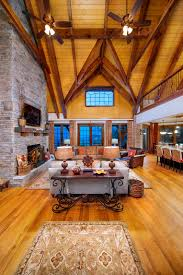 Log Floor by High Vaulted Ceilings Stained Timbers Wood Ceiling Wide Mixed