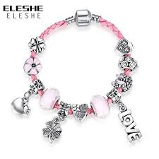 pink leather necklace images Eleshe cute genuine braided pink leather bracelet bangle with jpg