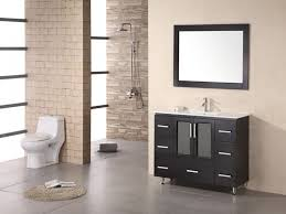 Floating Dark Brown Wooden Vanity With Drawers And Sink On The - Awesome white 48 bathroom vanity residence