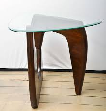 pair of wood base glass triangular top tables at 1stdibs