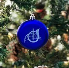 cog ornament blue shatter resistant