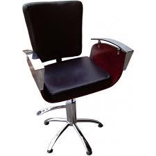 fauteuil de coiffure pour dame bois marron siège noir arcos megatron