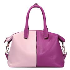 contrast color genuine leather handbag rose red with pink