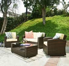 Kmart Wicker Patio Furniture - the hom 4 piece bahia wicker cushioned patio set tan