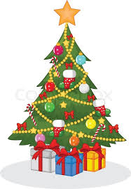 vector illustration of cartoon decorated christmas tree stock