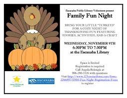 thanksgiving humorous stories family fun night escanaba public library