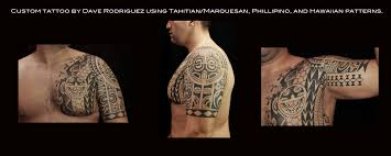 shoulder to chest tattoo mixed polynesian upper arm and chest tattoo by dave rodriguez