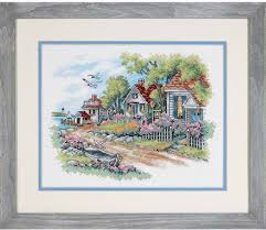 dimensions cottages by the sea sted cross stitch kit 3240