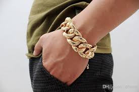 gold chain bracelet with leather images 2018 sexy women classical gold or silver big chunky chains link jpg