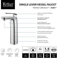 kraus fvs1820ch single handle cast spout vessel sink bathroom