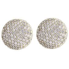 diamond earrings on sale cartier pavé diamond gold large button earrings for sale at 1stdibs