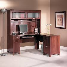 Computer Desk With Cabinets Bush Tuxedo Cherry Computer Desk With Optional Hutch Hayneedle