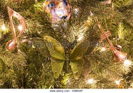 musical brown christmas tree christmas decoration background notes stock photos