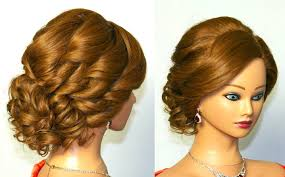 updo hairstyle for curly long hair elegant side swept curls