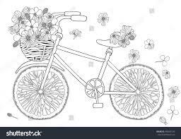 bike flower basket on white background stock vector 400405120