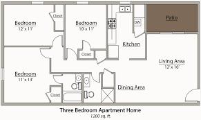 three bedroom floor plans three bedroom apartment floor plan