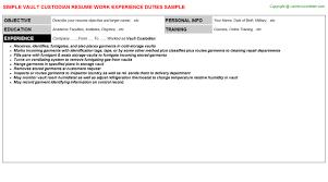 vault custodian resume sample