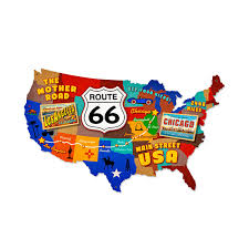 Old Route 66 Map by Route 66 Usa Postcard Map Die Cut Metal Sign Vintage Diner Signs