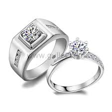wedding band sets custom name synthetic diamond silver wedding rings sets for two