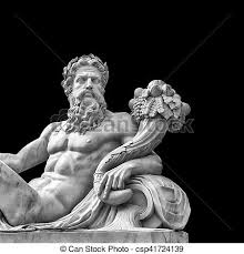 greek mythology statues marble statue of greek god with cornucopia in his hands stock