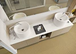 double washbasin cabinet wall hung corian wooden play makro