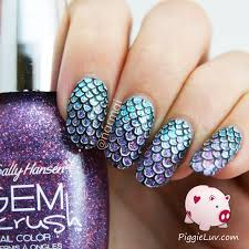 piggieluv mermaid scales nail art video tutorial