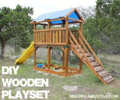 Wood Backyard Playsets by Diy Playset And Staining With Flood Wood Domestic Imperfection