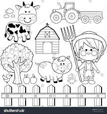 Farmer Boy Set Child Farm Animals Stock Vector 649002985