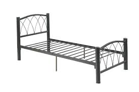 black metal frame youth bed with slats bent metal accents
