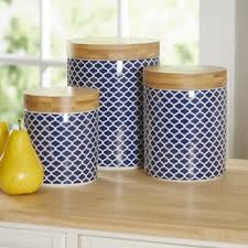 blue and white kitchen canisters kitchen canisters jars you ll wayfair