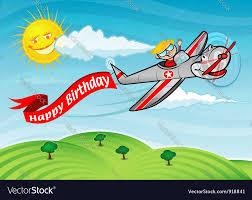 happy birthday airplane royalty free vector image