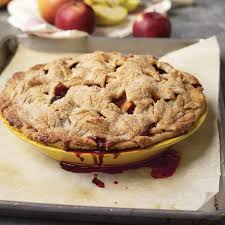 apple blackberry pie with fall leaves